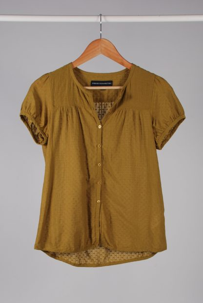 French Connection Green Textured Blouse - Size 10 - Front