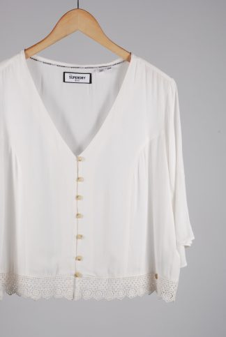 Superdry White Crop Top - Size 16 - Front Detail