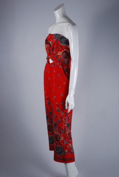 Quiz Red Floral Bandeau Jumpsuit - Size 10 - Side