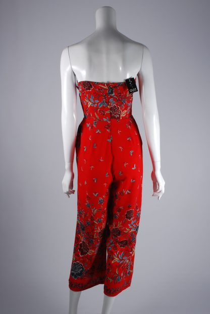 Quiz Red Floral Bandeau Jumpsuit - Size 10 - Back