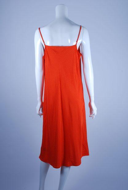 M&S Orange Tonal Polka Dot Dress - Size 14 - Back