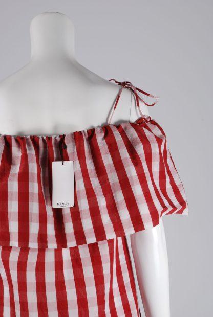 Mango Red & White Gingham Dress - Size S - Back Detail