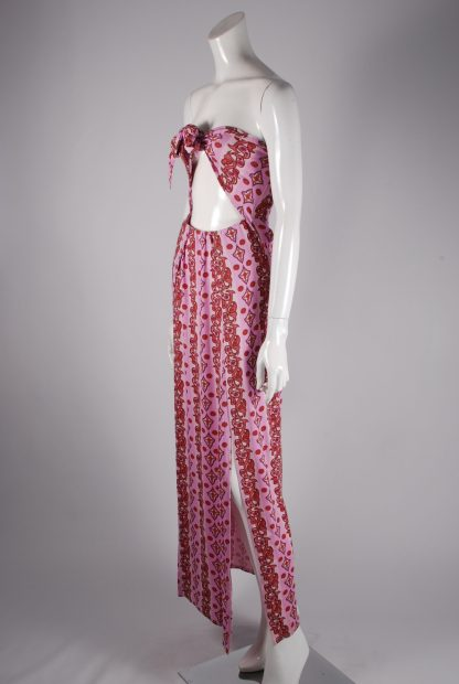 Boohoo Pink & Red Paisley Maxi Dress - Size 10 - Side