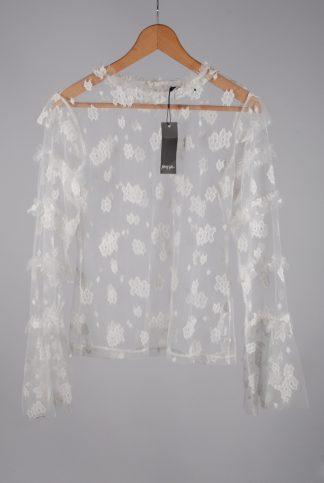 Nasty Gal White Lace Mesh Top - Size 14 - Front
