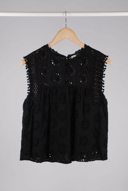 Zara Black Broderie Sleeveless Top - Size M - Front