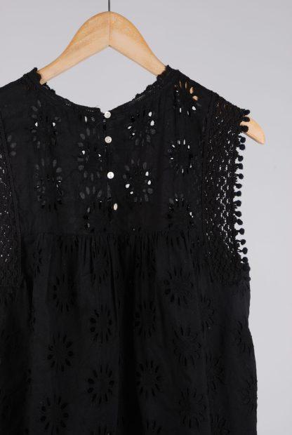 Zara Black Broderie Sleeveless Top - Size M - Back Detail
