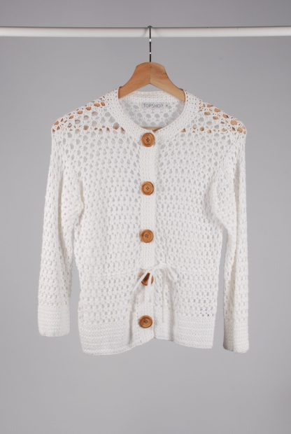 Topshop White Chunky Crochet Cardigan - Size 12 - Front