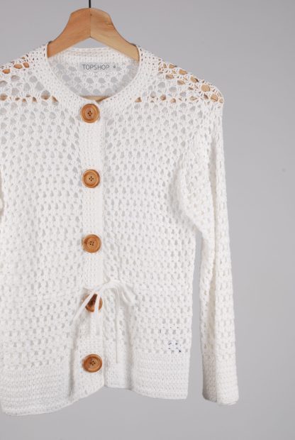 Topshop White Chunky Crochet Cardigan - Size 12 - Front Detail
