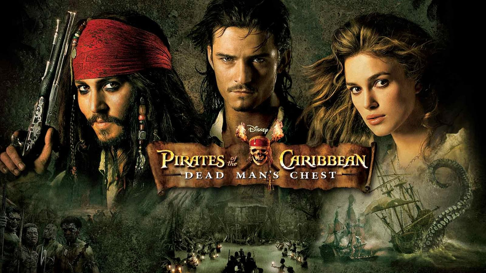 Movie, Pirates of the Caribbean: Dead Man's Chest(美國, 2006年) / 神鬼奇航2:加勒比海盜(台灣) / 加勒比海盜:決戰魔盜王(香港) / 加勒比海盗2:聚魂棺(網路), 電影海報, 美國, 橫版