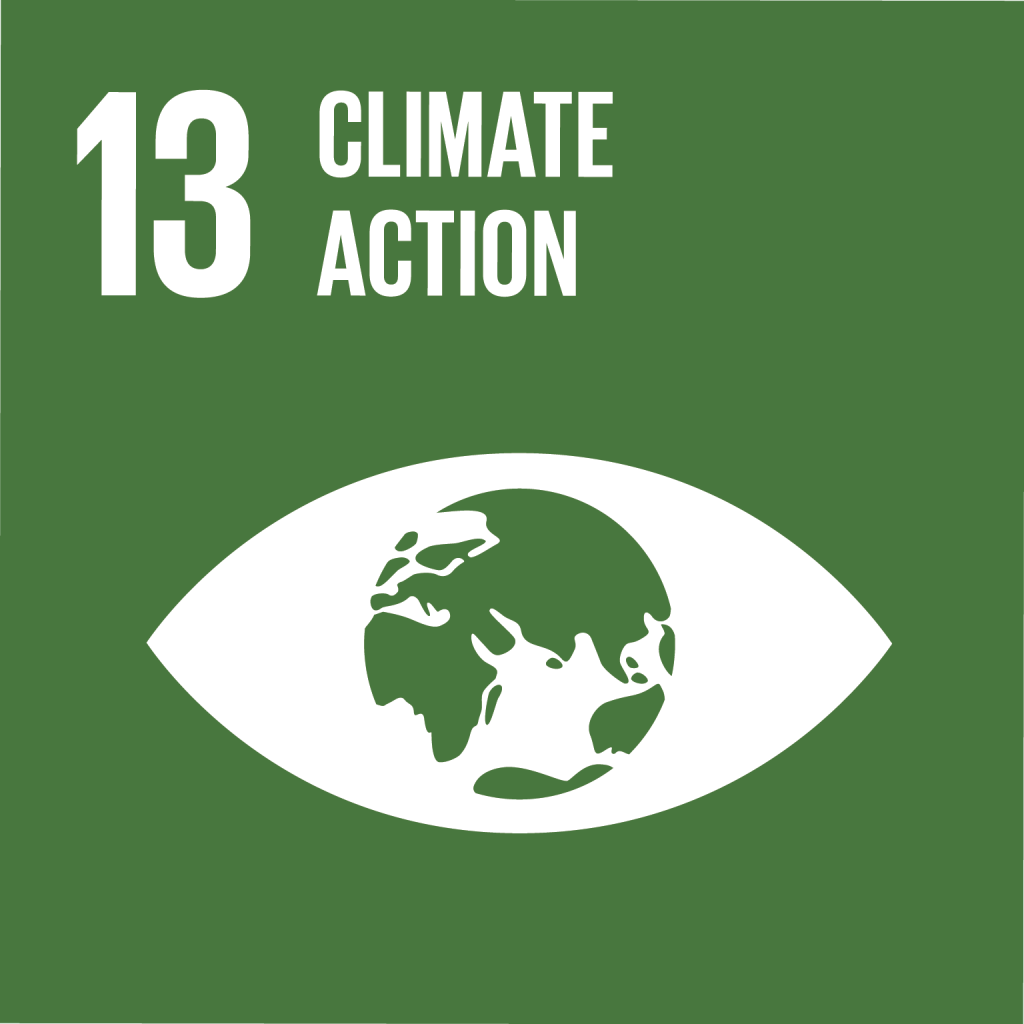 Symbolische Grafik für das Sustainable Development Goal (SDG) Nummer 13: Climate Action, Sofortmaßnahmen ergreifen, um den Klimawandel und seine Auswirkungen zu bekämpfen.