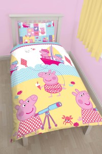 NEW PEPPA PIG NAUTICAL SINGLE DUVET QUILT COVER BEDDING ...