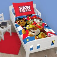 NEW PAW PATROL PAWSOME JUNIOR TODDLER COT BED SIZE DUVET ...