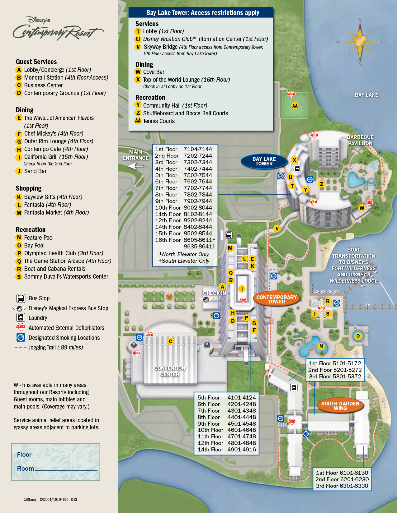 Contemporary Resort Map Walt Disney World