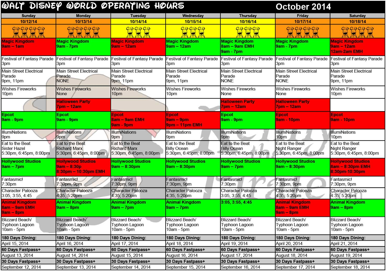 October 2014 Disney World Crowd Calendar Park Hours KennythePirate