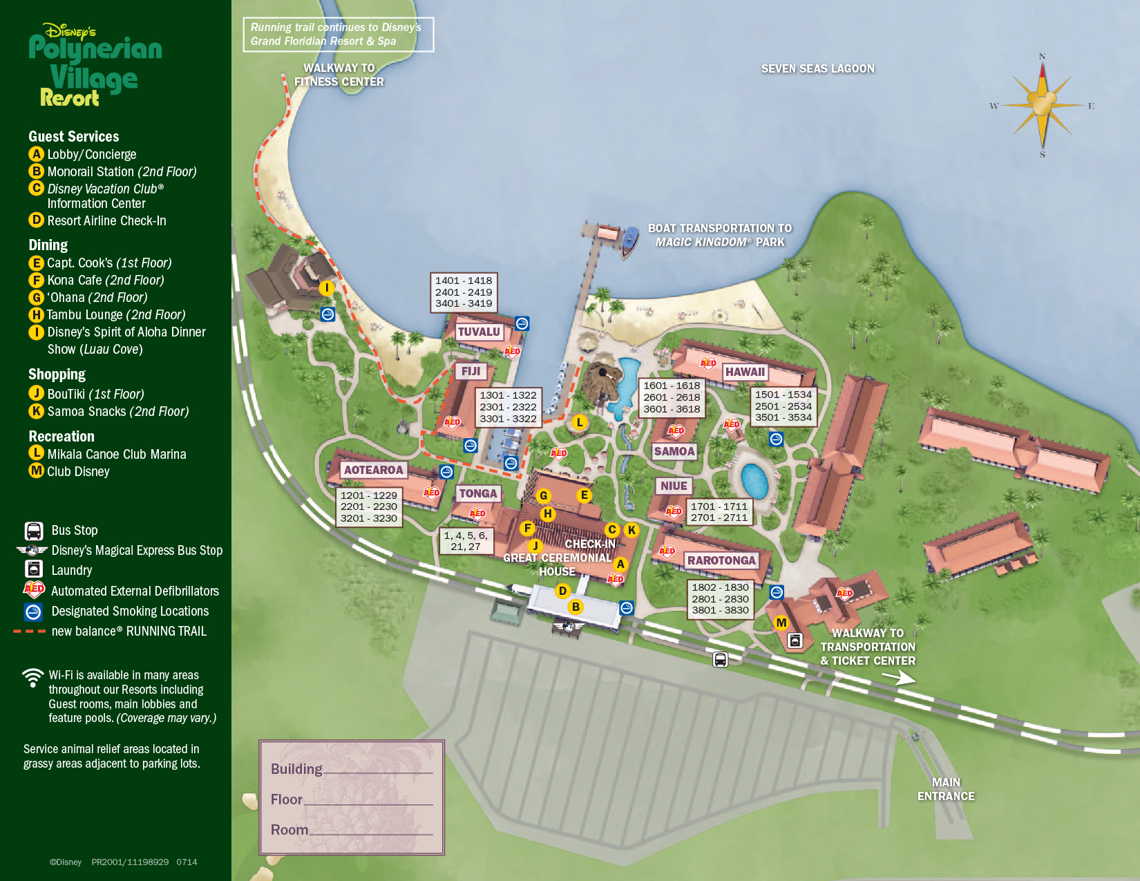 Polynesian Village Resort Map Walt Disney World