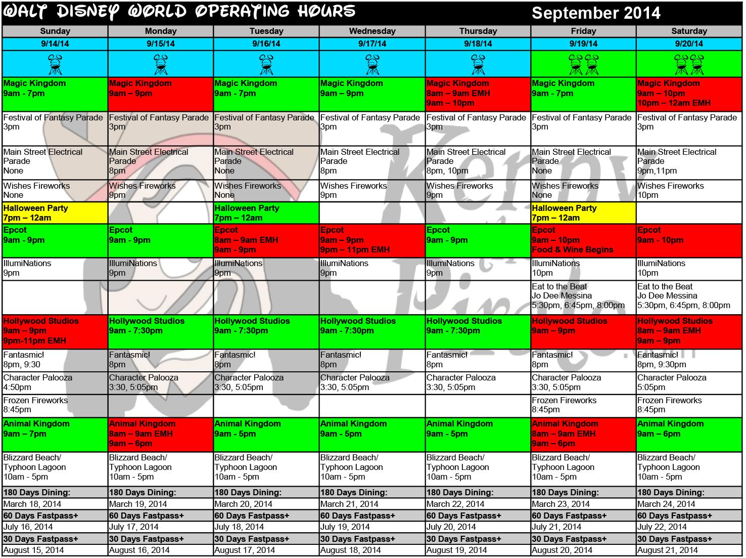 September 2014 Disney World Crowd Calendar Park Hours KennythePirate