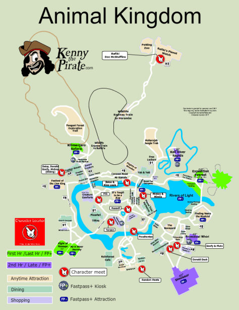 Animal Kingdom Map with character meet and greet locations