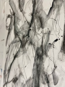 Black and white abstract art piece. Mixed media