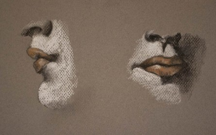 lips in conte crayon drawing