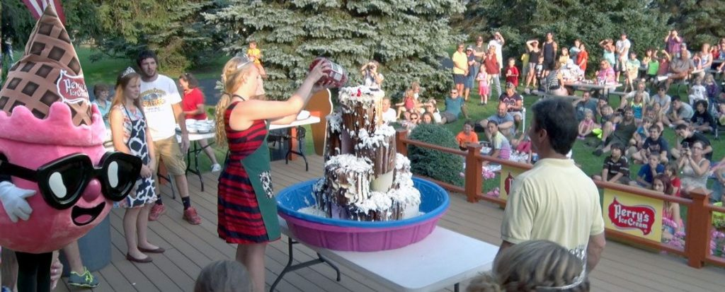 Giant Sundae Created by the Wyoming County Dairy Princess and her Court All are welcome to watch & EAT FREE!!! Also Kids come meet Perry's Ice Cream Mascot, Perriwinkle After the Giant Sundae ... Join us for a show that Ends with a Bang!!! That's A Giant Night of Family Fun ... with great Movies after that!!! (Eat Free applies to the Giant Sundae)