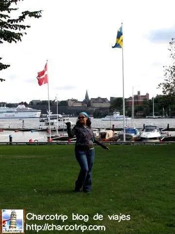 Yo aqui con las banderas de los dos paises escandinavos que visitariamos en este viaje