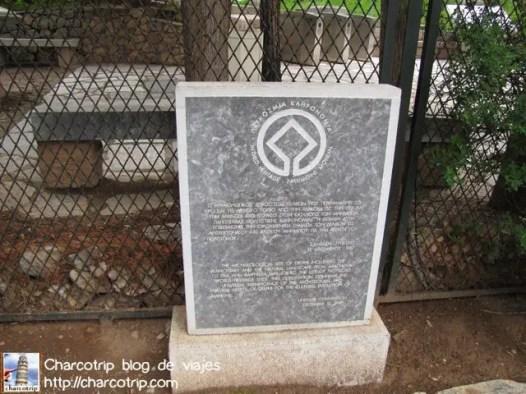 Aqui se ve la placa que dice que el lugar es Patrimonio de la Humanidad