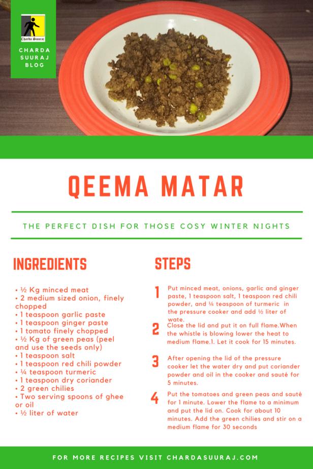 Qeema Matar Recipe Card