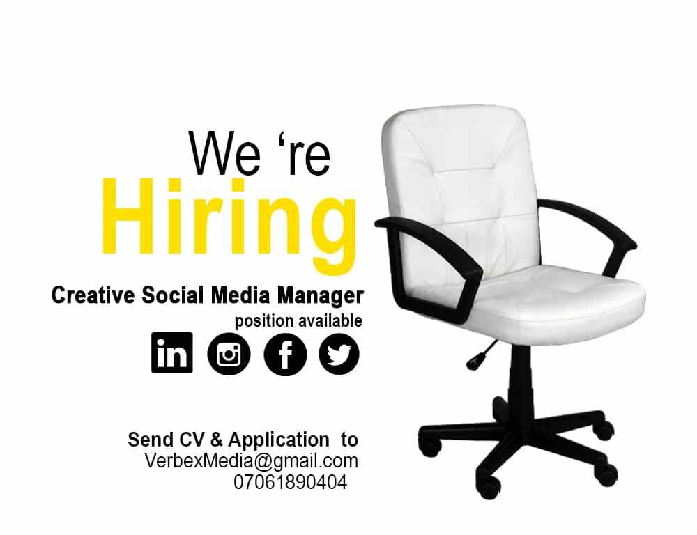 #AD: We Are Hiring!…Creative Social Media Manager and Creative Graphics Designer Needed at Verbex Media