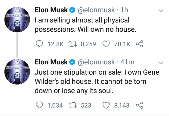 South African born Billionaire, Elon Musk, reveals on twitter, that he is selling almost all his physical possessions and will own no house
