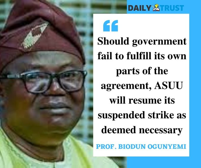 """#asuustrike: Has ASUU strike been called off?…""""ASUU suspends its over 10-month-old strike but with a Clause…"""""""