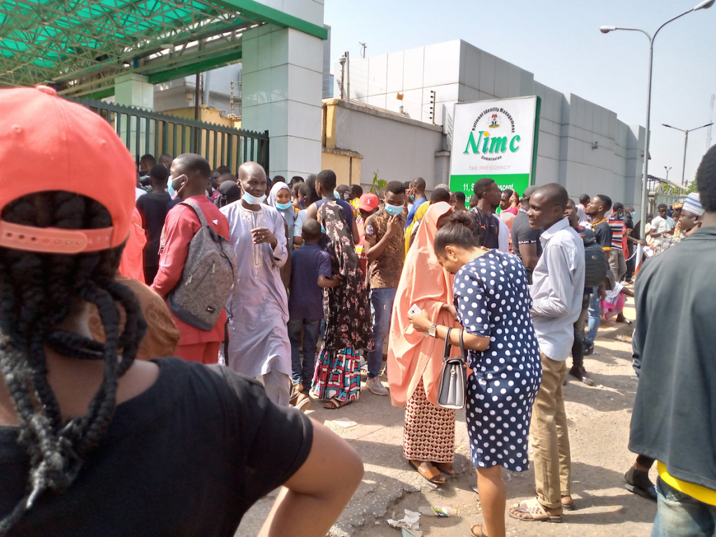 NIMC Official Photos: Wow! See the Trending Photos of the Mammoth Crowds at NIMC offices for NIN registration amidst the COVID-19 second wave…(See How to link your SIM cards with NIN)