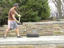 Small Tire with Sledge Hammer Workout