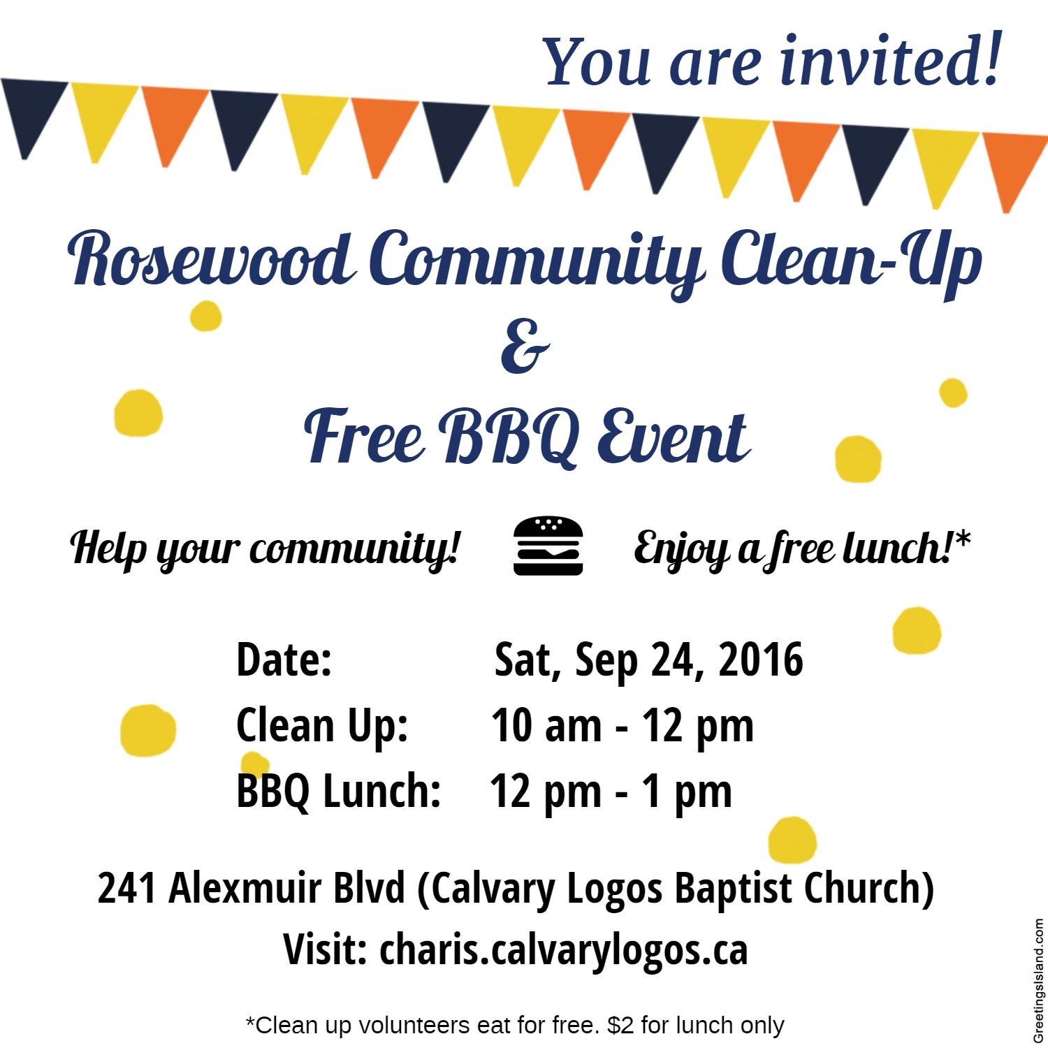 Community Clean Up BBQ flyer