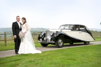 1952 Bentley with happy couple - splendid wedding transport