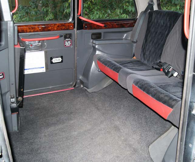 London cab interior - suitable for a bride and some bride's maids