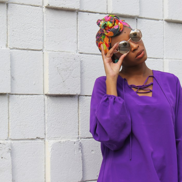 Best of Brights: Purple Blouse + 90s Shorts + Floral Headwrap
