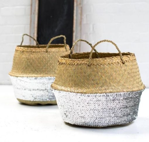Seagrass/silver sequin baskets, Notonthehighstreet.com: Global Fusion blog, Charis White