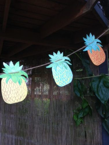Lakeland Pineapple paper garland for Outdoor Entertaining blog by Charis White
