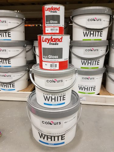 Paint pots for faux wedding cake: Charis White stylist for Tissus D'Helene window 2017
