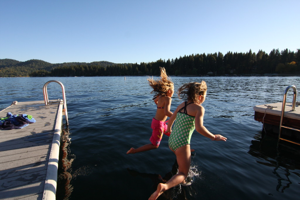 summer afternoon lake jump