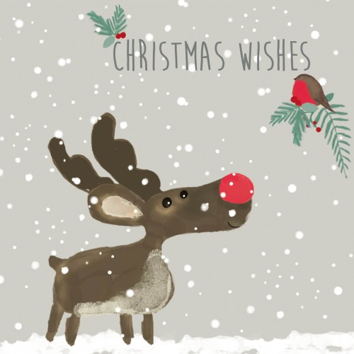 Reindeer And Robin Christmas Card Charity Cards
