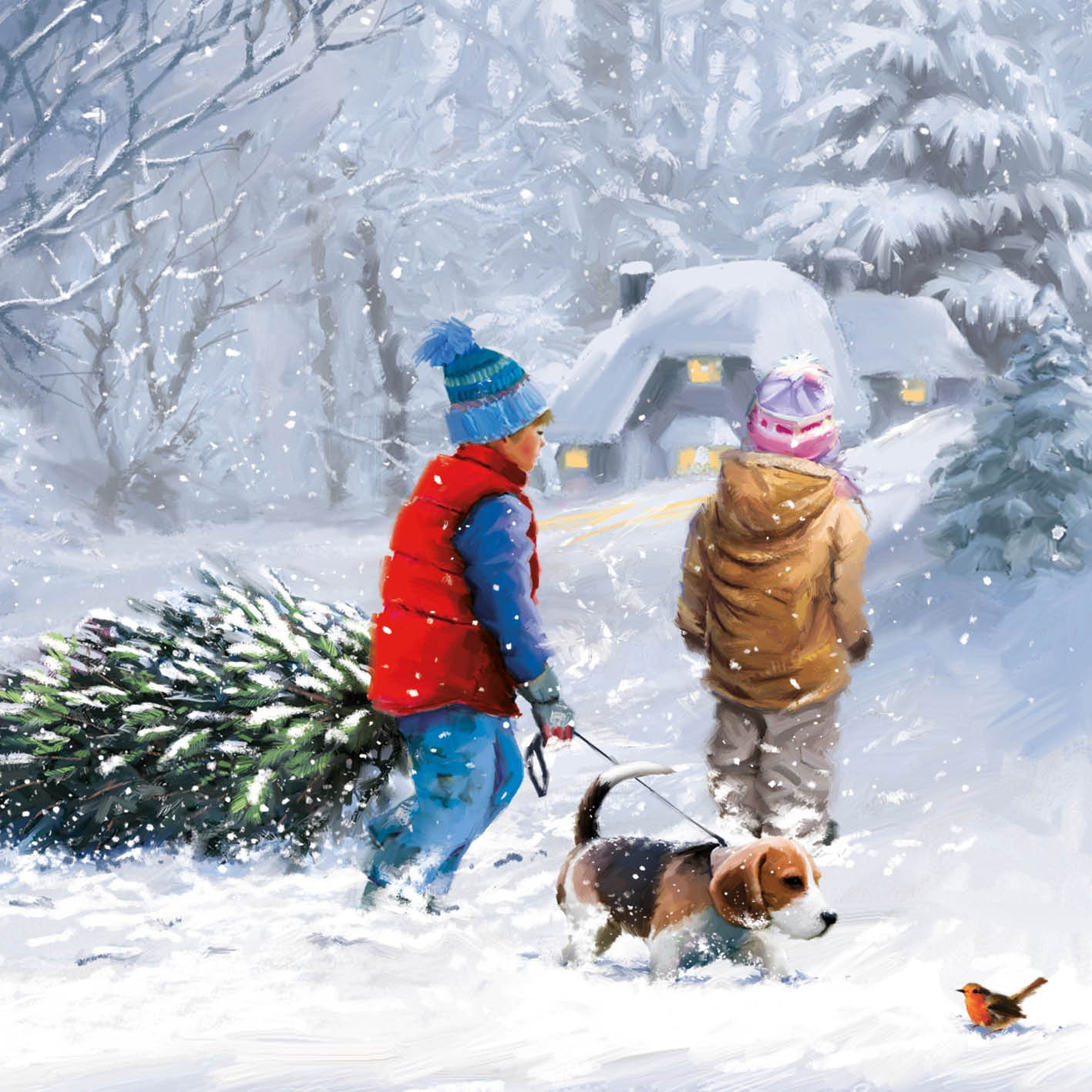 Kids In Snow Christmas Card Charity Cards