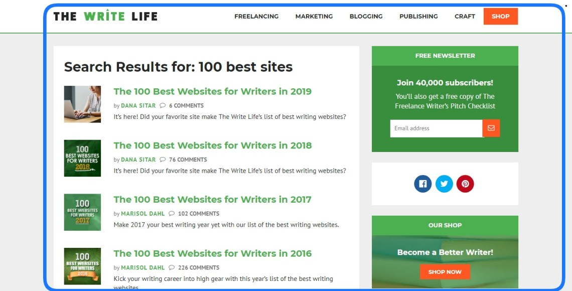 Best freelance website. The Write Life.