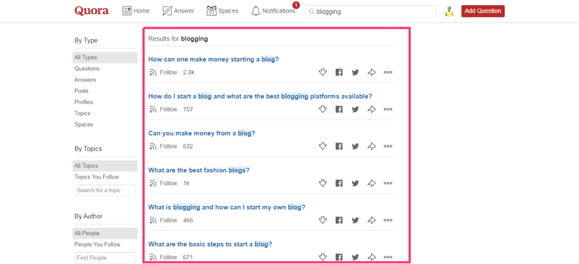 Find blog topics on quora