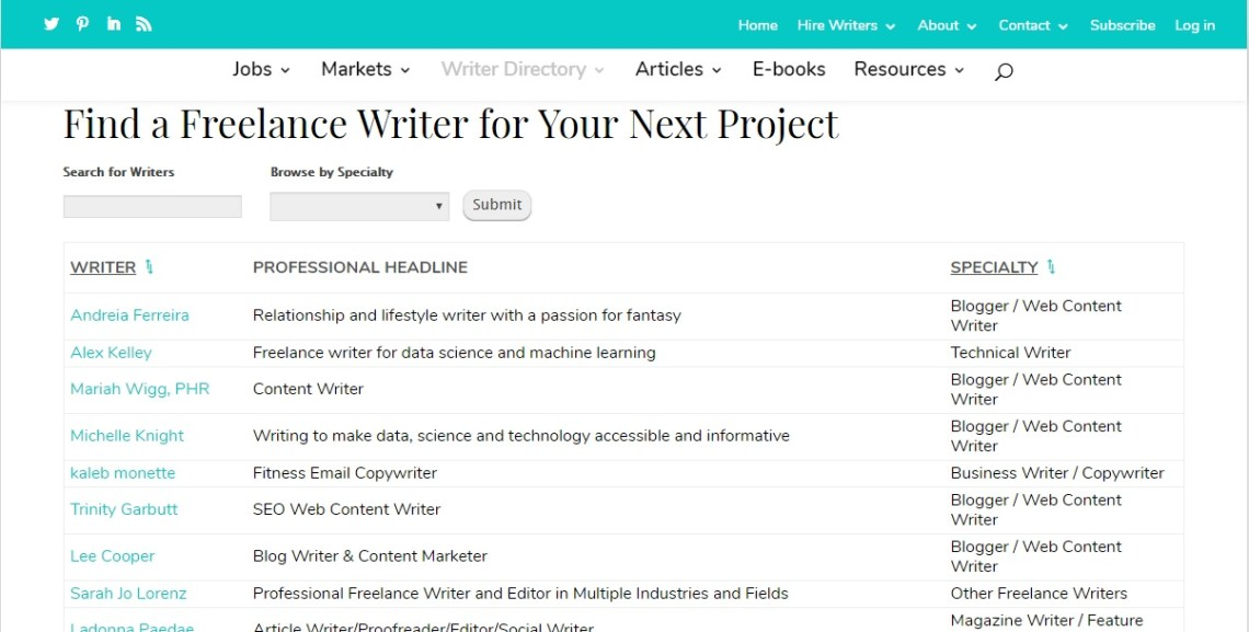 Writing Job board