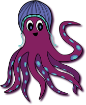 Spinelly's logo, a cheerful octopus in a cute touque cap