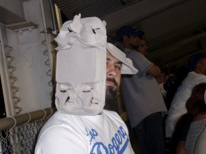 Bobby Salcedo Wearing a Hat of Dodger Stadium Food Trays