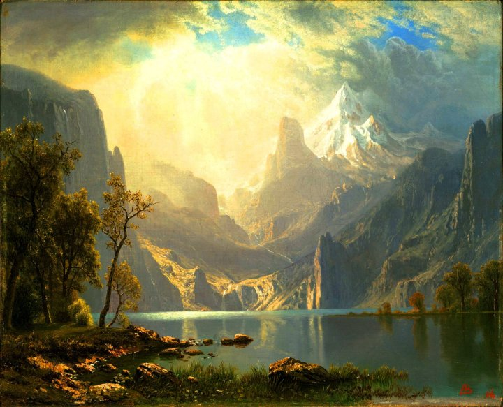 In the Sierras / Lake Tahoe. By Albert Bierstadt, after the style of Maxfield Parrish.