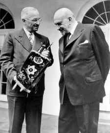 President Harry Truman receives a Torah Scroll from Dr. Chaim Weizmann, President of Israel, during a visit to the White House, May 25, 1948.