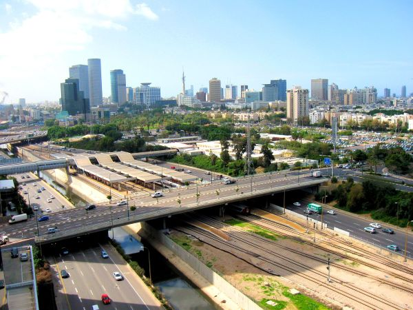 Ayalon river and Tel-Aviv skyline.